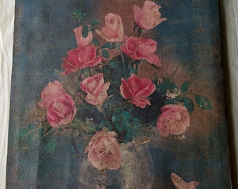 Antique Still Life Pink Roses in Vase Art on Canvas. Hand Painted Details on Print. Shabby, Boho, Cottage, Garden