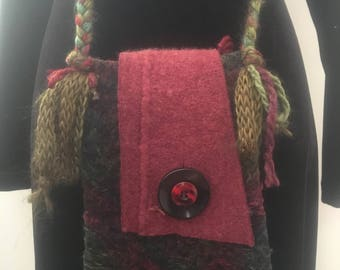 Handmade up-cycled vintage felted wool fall sweater purse messenger bag