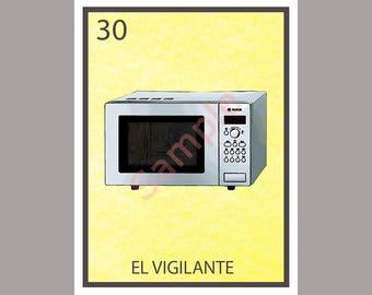 El Vigilante - Political Loteria Card - The Watcher - Microwave - Anti-Trump Kellyanne Conway Greeting Card Art - Donation to ACLU