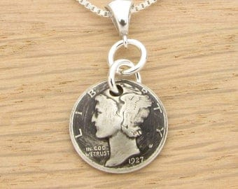 For 90th: 1927 US Antiqued Mercury Dime Necklace 90th Birthday Gift Coin Jewelry