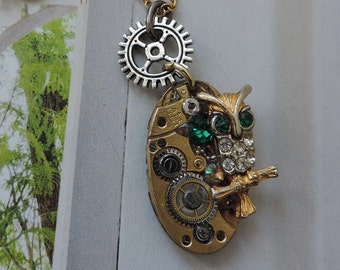 """Steampunk jewelry. Necklace """"Hedwig, Harry Potter OWL"""""""