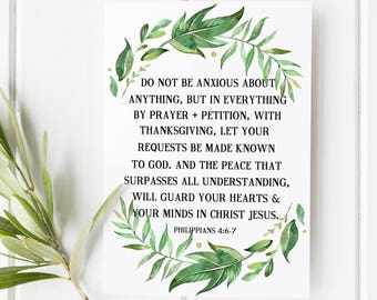 Philippians 4:6-7 - Do not be anxious about anything but in everything though prayer and petition - Scripture Art - Bible Verse - Verse art