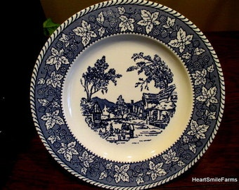 Homer Laughlin Shakespeare Country Blue (Leaves) Dinnerware Service for 8 Plus 5 piece Hostess Set - 37 Piece Dinnerware - Stratwood