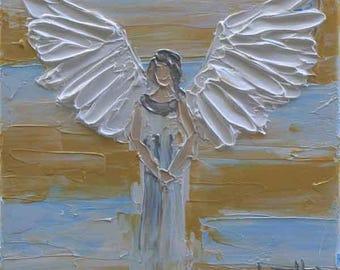 Angel Art, Angel Painting, Religious Art, Christian Art, Angels, Oil Painting, Palette Knife, 10x10, Angel Artwork, Religious Artwork