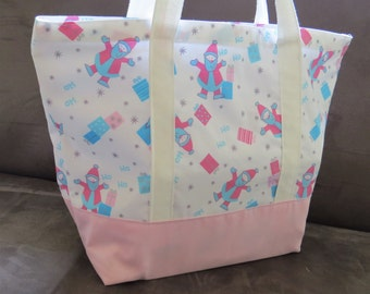 Holiday special Pink tote bag, cotton bag, reusable grocery bag, Green Market bag