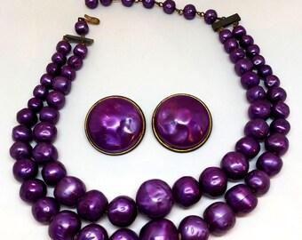 Purple Faux Pearl Necklace & Earrings, Vintage Costume Jewelry, Demi Parure, Japan