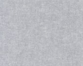 "Essex Yarn Dyed Fabric ""Steel"" Gray from House of Linen by Robert Kaufman. Light Grey Color. 55/45% Linen/Cotton. E064-91 STEEL"