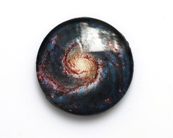 25mm handmade galaxy glass cabochon - outer space / cosmic cabochon - standard profile
