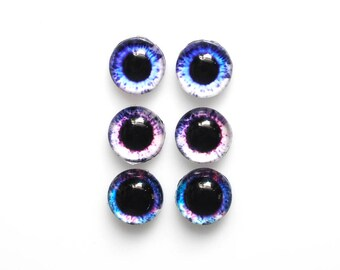 Set of 3 pairs 12mm handmade glass eye cabochons - Purple / blue eyes -  HEMISPHERICAL / high dome