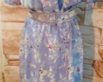 Vintage 80s 90s JODY of California Floral Retro Blue Imported Fabric