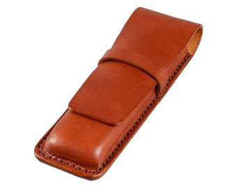 Leather Pen Case, Handmade, Full Grain Cognac Bridle Leather, Fits 2 Pens