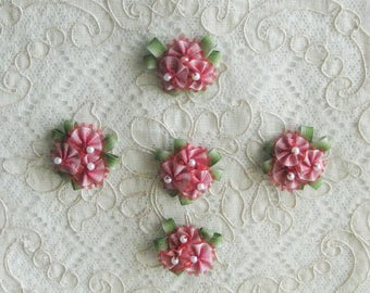 5 Small Ribbonwork Floral Appliques - Pink to Red Ombre Ribbon - Crafts, Sewing, Crazy Quilt, Scrapbooking, Dolls