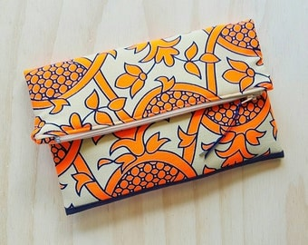 Neon Orange Fold Over Clutch
