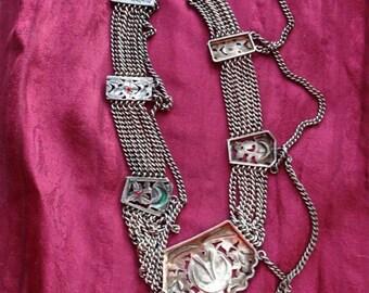 Middle Eastern Sterling w/Enamel Festoon Necklace,  Old
