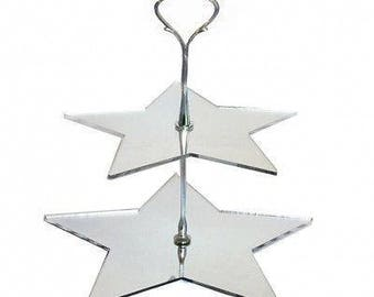 Star Shaped Two Tier Silver Rod Acrylic Cup Cake / High Tea Cake Stand - In Various Sizes and Colours