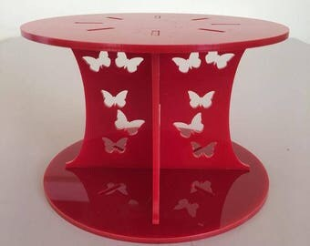 """Butterfly Round Red Gloss Acrylic Cake Pillars/Cake Separators, for Wedding / Party Cakes 10cm 4"""" High, Size 6"""" 7"""" 8"""" 9"""" 10"""" 11"""" 12"""""""