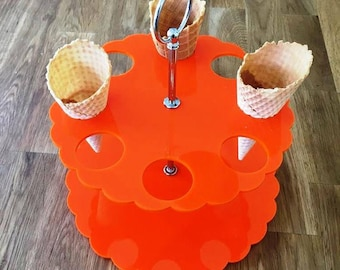 """Round Orange Gloss Acrylic Ice Cream Cone Stands with Silver Metal Round Handle Rod (holes are 3.5cm 1.5"""" Diameter) 4, 8 or 12 Hole Options"""