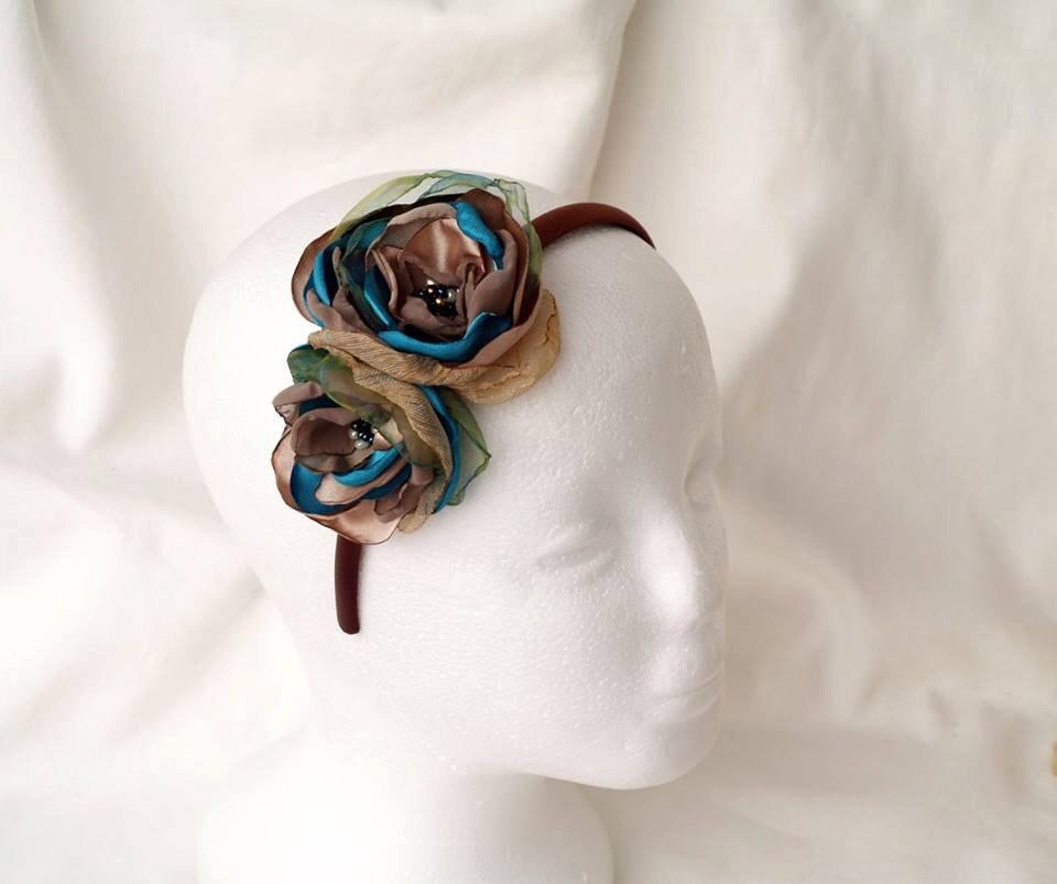 Hair accessories silk flower headband teal beige headpiece flowers for hair statement headband fascinator mightylinksfo