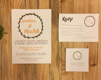 Great Floral Wreath Wedding Invitation With Rsvp Card On Linen Card Stock