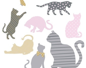 Cat Wall Decals   Kitty Fabric Wall Decals Part 97