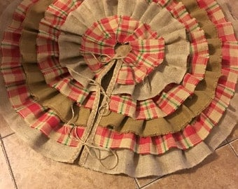 Burlap plaid Christmas tree skirt