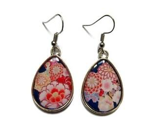 TEARDROP EARRINGS - drop earrings - japanese Pattern - Blue BOHO Earrings - flowers Earrings - sakura Pattern - Japanese Earrings