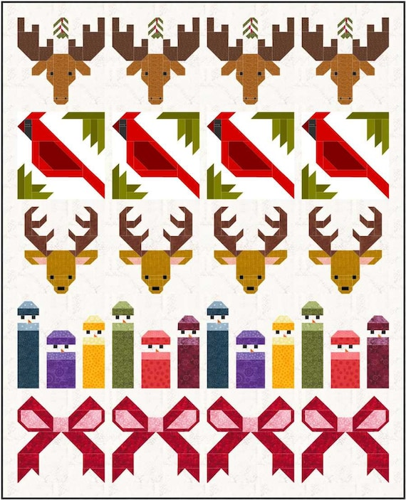 """Christmas Collection set of 15 Quilt Block Patterns, PDF, Instant Download, modern patchwork, 12"""" quilt blocks, festive holiday collection"""