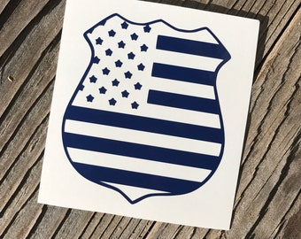 Police badge decal, cop decal, flag sticker, law enforcement car decal, laptop decal, cup decal, police flag decal, back the blue decal LEO