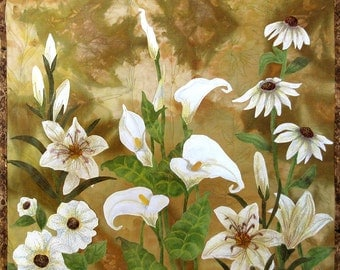 Hand painted fabric art quilt, wallhanging - White flowers