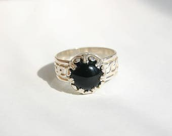 Sterling Silver Black Onyx Ring, Black Onyx Ring, Protection Ring, Onyx Protection Ring