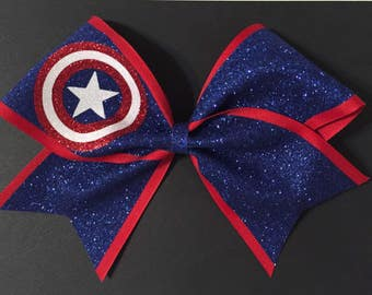 3in. Glitter Captain America Superhero Cheer Bow