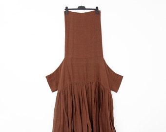 Vintage Dress // 90's GIGLI Oversized Collar Copper Cotton Gauze Sack Dress