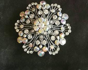 Dazzling Rhinestone Flower Brooch Pendant Combo Silvertone