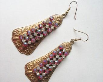 Vintage statement earrings, rhinestone long earrings, brass rhinestone, dramatic earrings, brass glass earrings, large rhinestone and brass
