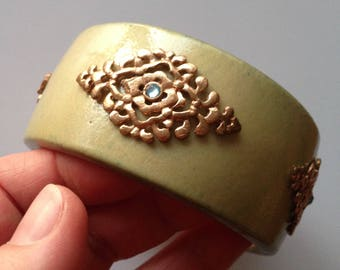 Bangle - green stained wood bangle with embellishment