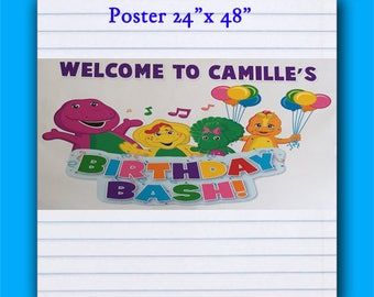 Barney Poster,Large Personalized Banner, Party decorations, personalized, Happy Birthday Banner