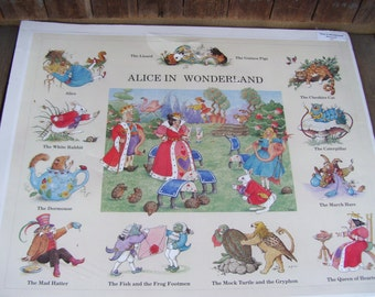 Alice in Wonderland Large Poster by Melanie Cargill,Great Britain,Children's Décor,Children's Art,Dated 1993,The Cheshire Cat