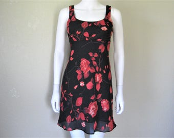 Rose Floral Print 90s Dress 7/8