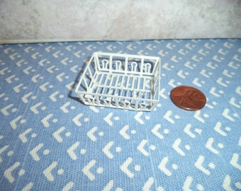 1:12 scale Dollhouse Miniature white metal dish drainer
