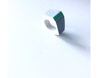 GEO Ring, geometric cast ring, grey and turquoise, gift for her, geometric jewellery