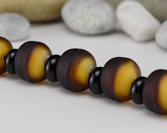 GOLD & BROWN - handmade lampwork glass bead set