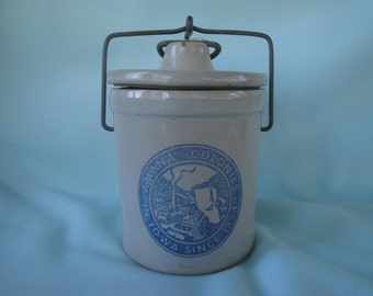 Amana Colonies Grey Stoneware Crock/Cheese Jar/Cheese Crock
