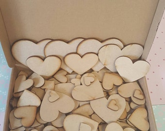 Bargain box of assorted MDF hearts all 3mm thick full box for crafting lazer cut blank shapes