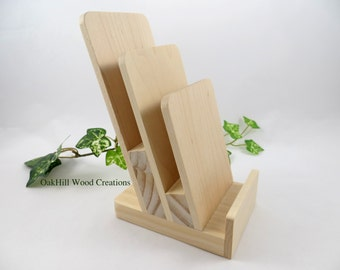 Display Stand 3 Tier, Rack Card Stand, Brochure Holder, Wooden Stand, Pamphlet Stand, Flyer Stand, Countertop Display, Reception Desk
