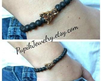 DRAGON BRACELET Beaded Bracelet Rock Lava 6mm Bracelet Mens Jewelry Beaded Jewelry Beaded Bracelet Stretch Bracelet Men's Bracelet Mens Gift