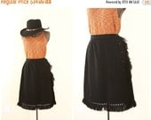 50% OFF SALE 50s skirt | high waisted wool skirt | fringe | cowgirl country | button front black midi skirt [ extra small ]