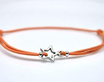 Silver star bracelet orange cord
