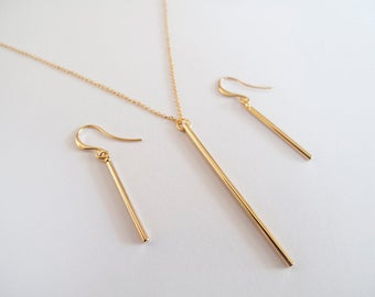 Gold Bar Necklace and Earrings - Minimalist Jewelry - Everyday Jewelry