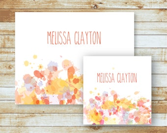Personalized Folded Note Cards & Calling Cards / Stationery Set / Watercolor Splatter