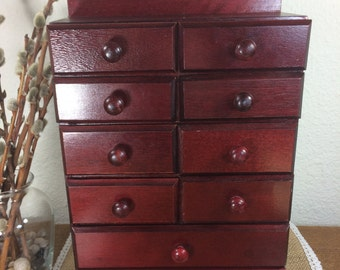Wood Chest of Drawers *FREE SHIPPING* Apothecary Cabinet, Jewelry Chest, Spice Box, Drawer Cabinet